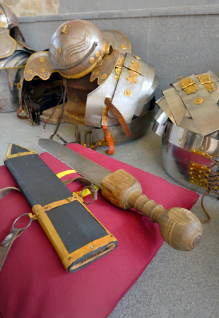 ancient roman: Ancient roman military sword and armour