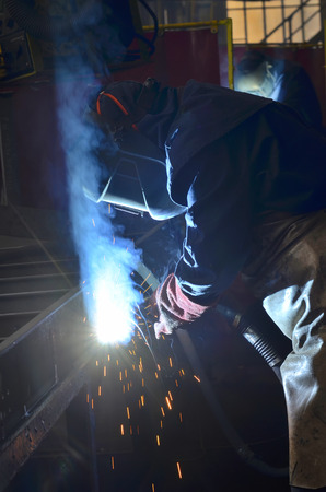 welder welding with mig-mag method