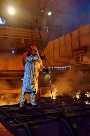 Steel worker inside of steel plant