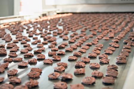chocolatería: Línea de producción de galletas de chocolate para hornear