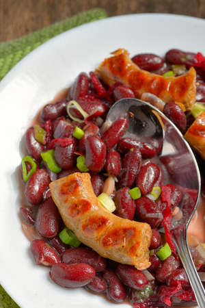 frijoles rojos: Red beans meal and sausages