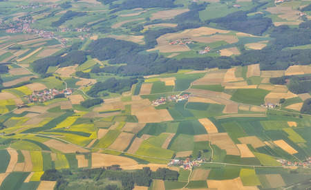 holland: Aerial view over villages in spring time Stock Photo