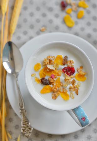 Cup of yogurt with crunchy cereals