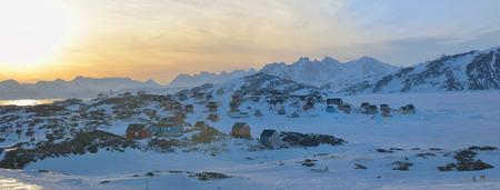 Greenland landscape in Kulusuk village in spring time Stock Photo