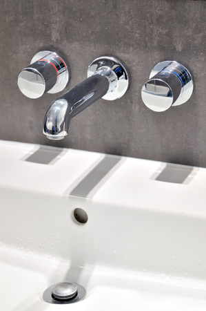 Details of modern bathroom taps