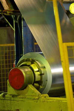 smelting plant: Rolls of metal sheet inside of steel plant