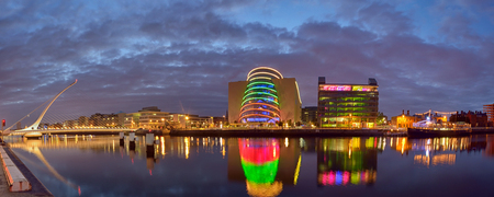 Samuel Beckett Bridge and the river Liffey in Dublin in night time