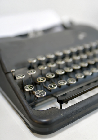 qwerty: Details of Old typing machine Stock Photo