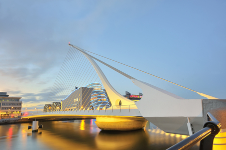 The Samuel Beckett Bridge in summer night Stock Photo