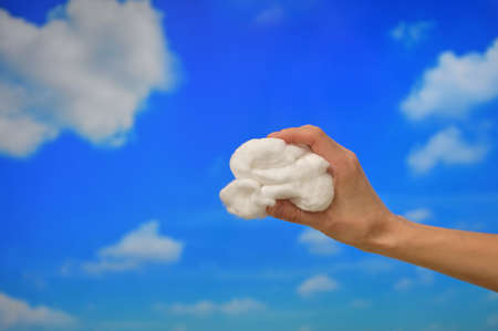 Concept Hand hold Clouds from Cotton wool