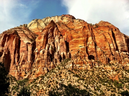 mountain scenery in Zions National Park red rock being shown in nature Stock Photo