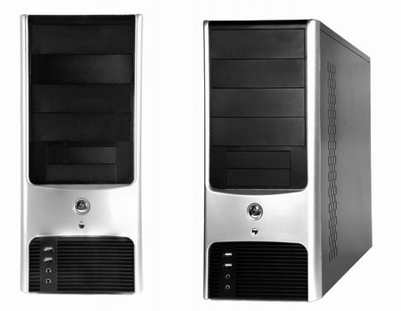 Black silver computer case on white background two sides Stock Photo