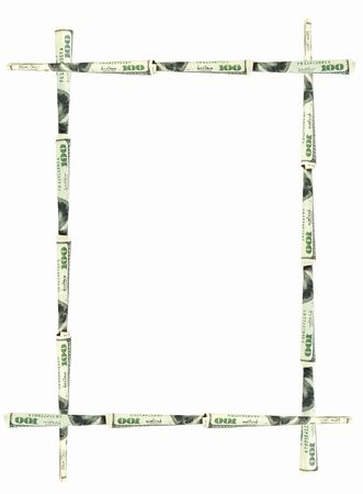 magnificence: abstract dollars frame isolated on white Stock Photo