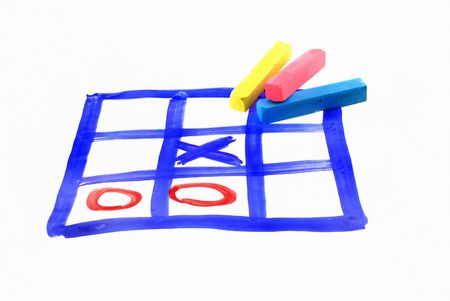 Tic tac toe and piece of chalk  draw on paper photo