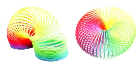 Colorful toy spring isolated on white  2 look Stock Photo