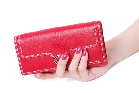 hand with purse feminine red on white background