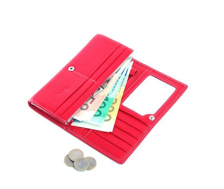 open purse feminine red with money photo