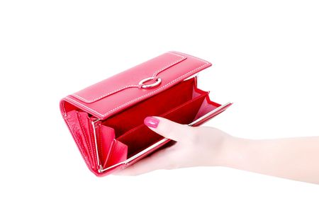 solvency: hand with empty purse feminine red on bacground white Stock Photo