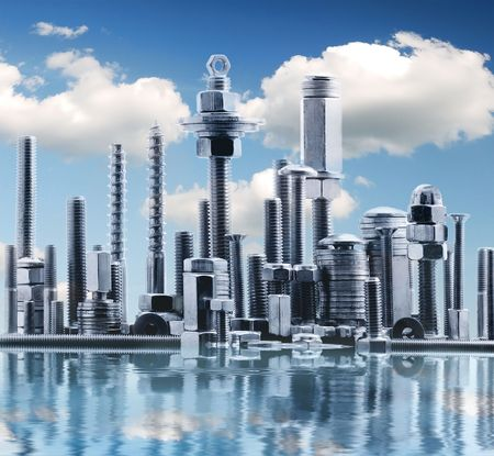 abstract panorama of NY city, made by metal bolt and nut chrome with  clouds  Stock Photo