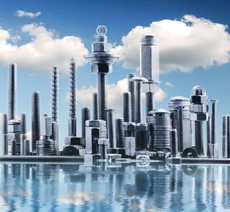 tuercas y tornillos: panorama abstracta de la ciudad de NY, realizada por metal cromado de perno y tuerca con las nubes  Foto de archivo