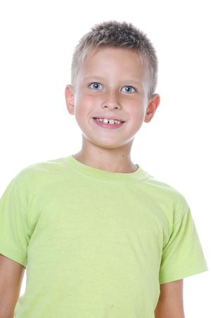 6 7 year old: portrait of 7 years old boy on white background teeth Stock Photo