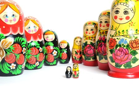 russian doll set on the white background