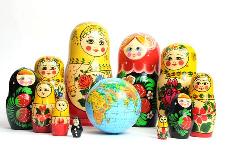 matriosca: russian doll on the white around the world