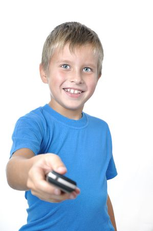 Focus on young boy Attractive young man handing cellphone foward photo