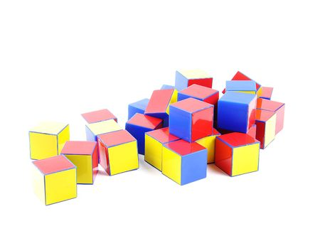 plastic bricks: small heap of color plastic bricks toys Stock Photo
