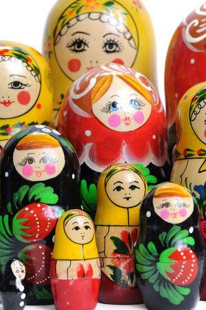 Matreshka Doll isolated on white Matreshkas Flash Mob