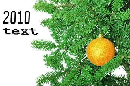 present christmas decoration on a fir-tree isolated on white photo