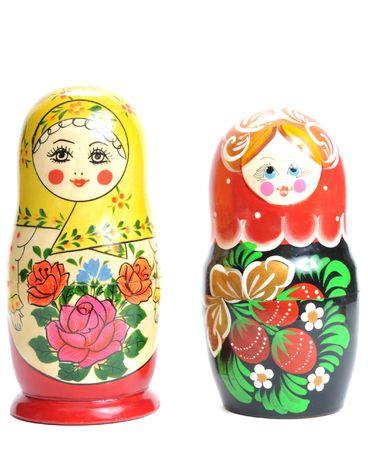matreshka doll isolated on white Matreshkas  Stock Photo