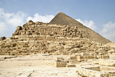 egypt, landscape with pyramids under blue sky  photo