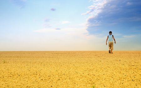 Man Hiking in the Desert Stock Photo - 6299459