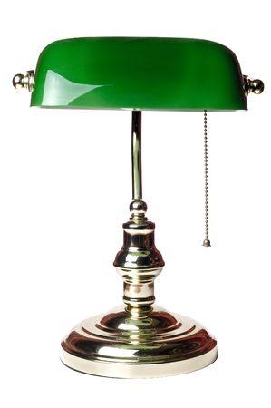 klassische Bankiers Lampe isoliert auf weißem Hintergrund