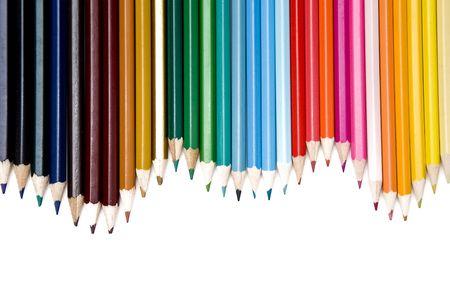 Leinensatz von farbigen Bleistifte over white background