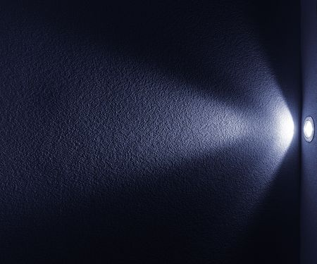 Blue Light Beam from Projector on Black Background