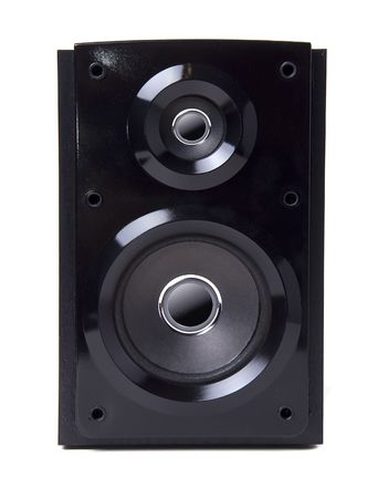 Black wooden loudspeaker isolated on white background photo