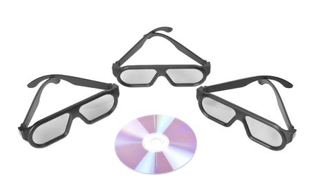 3d glasses and  isolated on white background photo