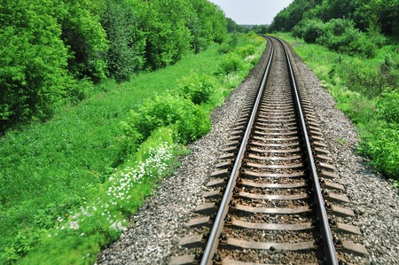 Landscape with railway runs away under blue sky Stock Photo - 7268884