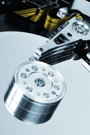 terabyte: hard disk drive detail blue colored picture Stock Photo