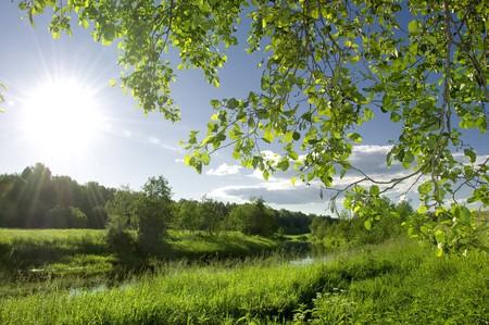 Sommerlandschaft mit Fluss und blauer Himmel