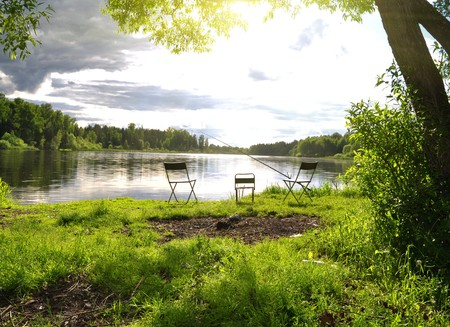 River Fishing place on lake under sky Stock Photo - 7559611