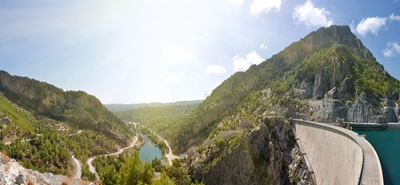 mountain canyon and hydroelectric dam panorama under sky photo