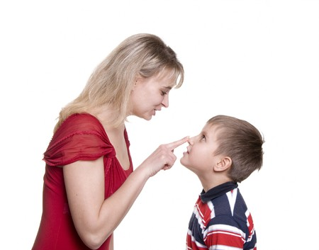 mother with son on wite press by nose Stock Photo - 8015597