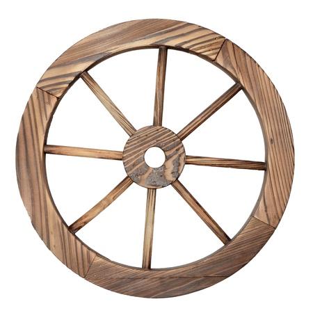 one old wooden wagon wheel on white photo