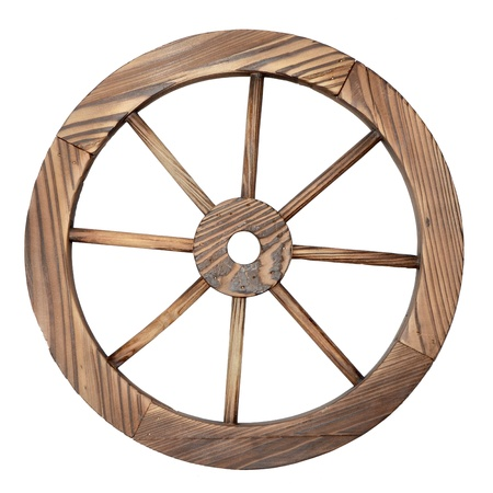 one old wooden wagon wheel on white