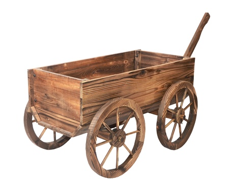 wagon: one vintage wooden cart isolated on white