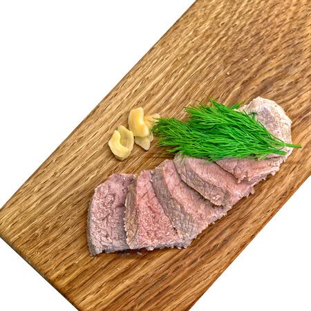meat boiled pork slice board on white Banco de Imagens