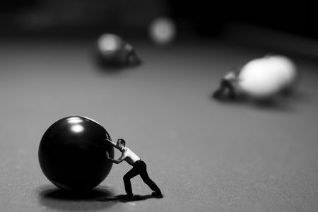 Billiards play in conceptual style